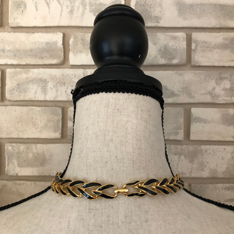 Vintage Napier Classic Gold & Black Enamel Link Necklace