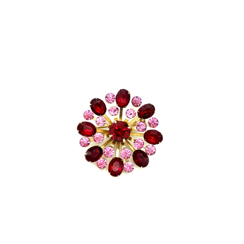 Coro Layered Red Pink Rhinestone Vintage Brooch