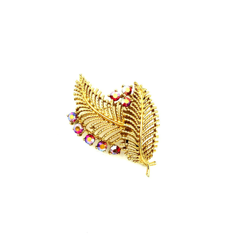 Lisner Vintage Gold Leaf Pink AB Pin Brooch-Sustainable Fashion with Vintage Style-Trending Designer Fashion-24 Wishes