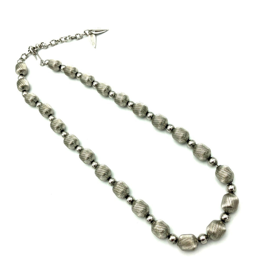 Whiting & Davis Brushed Silver Bead Necklace