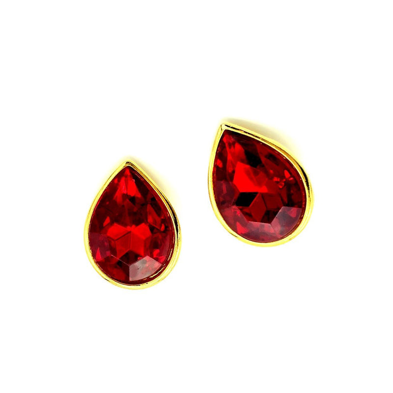 Ginnie Johansen Red Ruby Teardrop Clip-On Earrings-Sustainable Fashion with Vintage Style-Trending Designer Fashion-24 Wishes