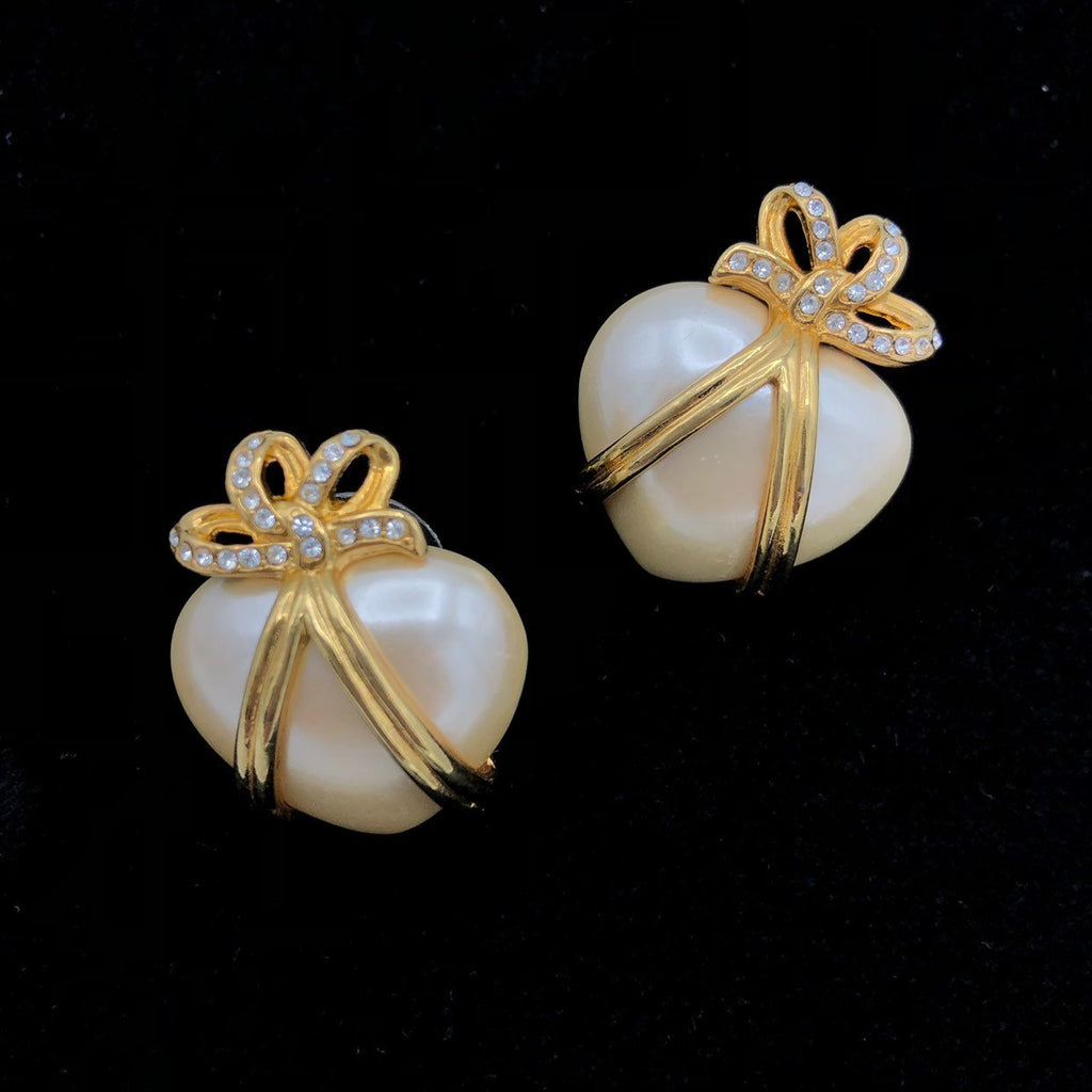 Joan Rivers Pearlescent White Heart Vintage Pierced Earrings-Sustainable Fashion with Vintage Style-Trending Designer Fashion-24 Wishes