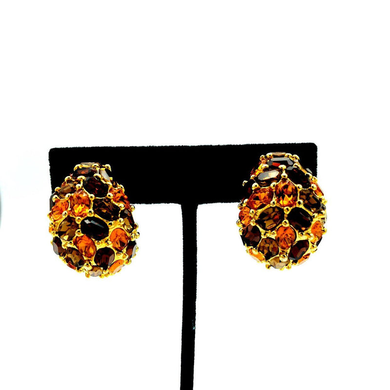 Kenneth Jay Lane Classic Gold & Brown Rhinestone Earrings