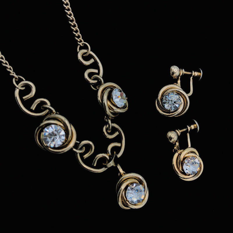 Coro Gold Clear Rhinestone Jewelry Set-Sustainable Fashion with Vintage Style-Trending Designer Fashion-24 Wishes