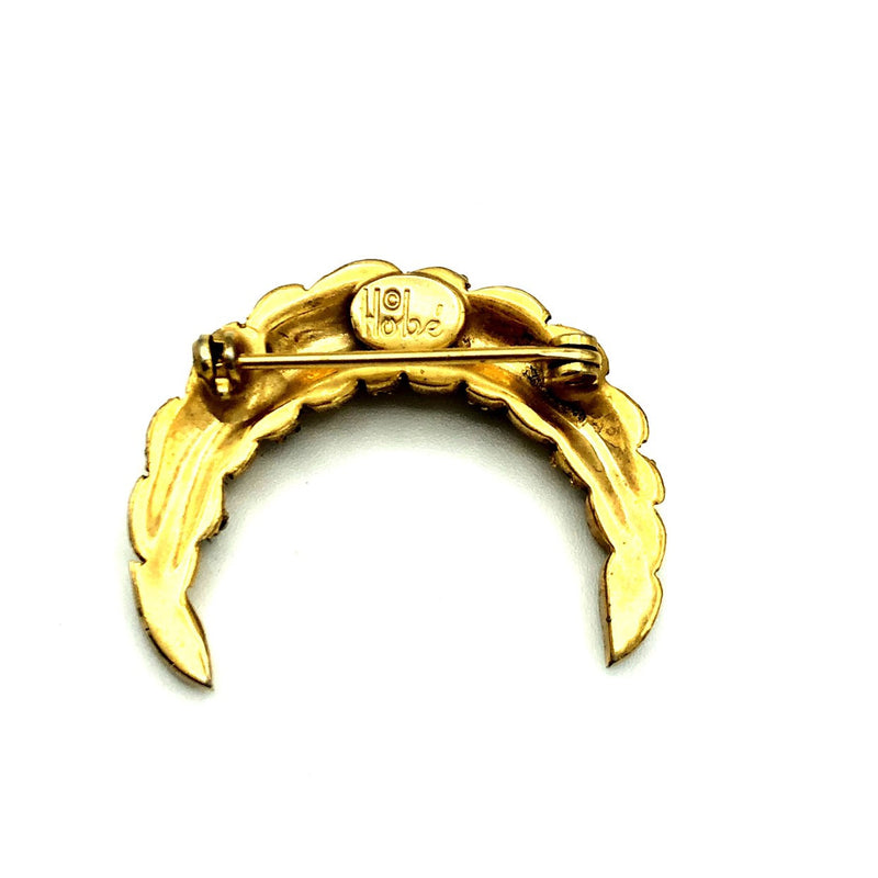 Vintage Gold Hobe Crescent Moon Brooch-Sustainable Fashion with Vintage Style-Trending Designer Fashion-24 Wishes