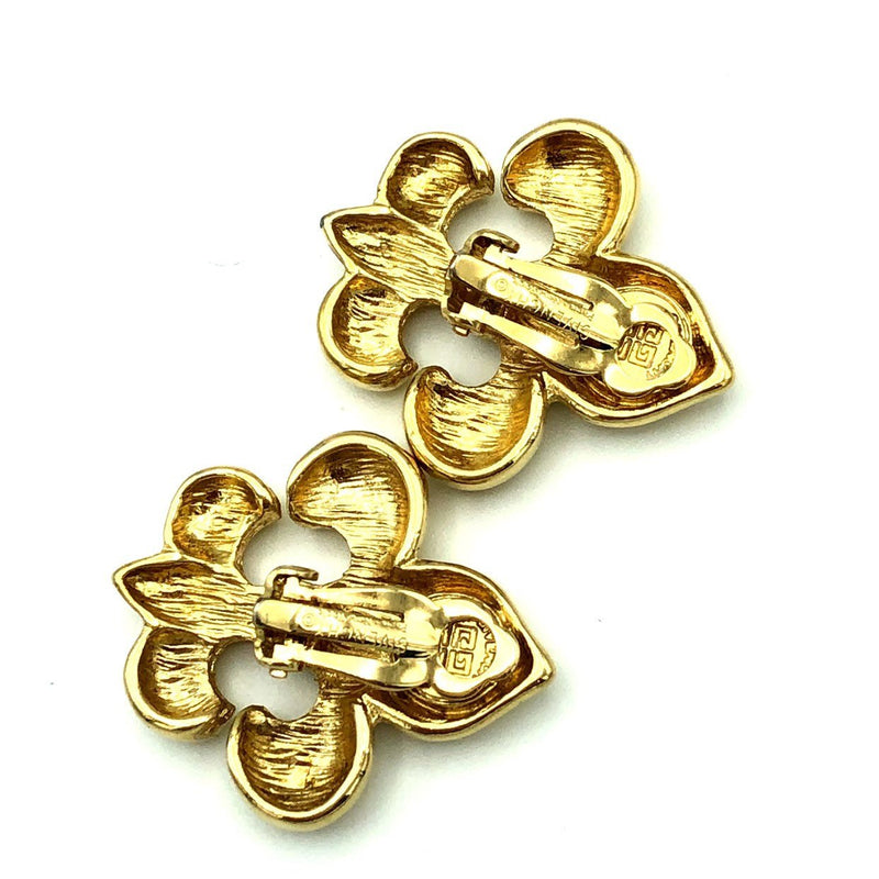 Givenchy Gold Fleur de Lis Vintage Earrings-Earrings-Givenchy-[trending designer jewelry]-[givenchy jewelry]-[Sustainable Fashion]