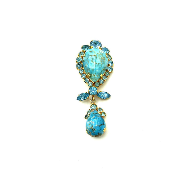 Vintage Austria Blue Art Glass Dangle Brooch