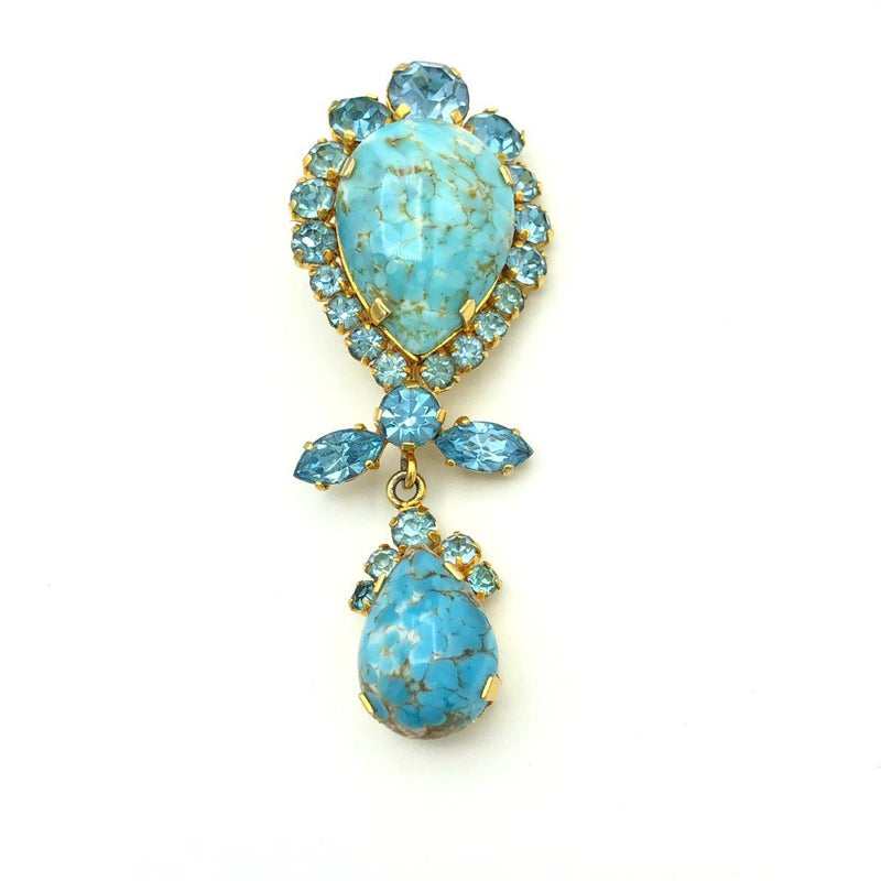 Vintage Austria Blue Art Glass Dangle Brooch-Sustainable Fashion with Vintage Style-Trending Designer Fashion-24 Wishes