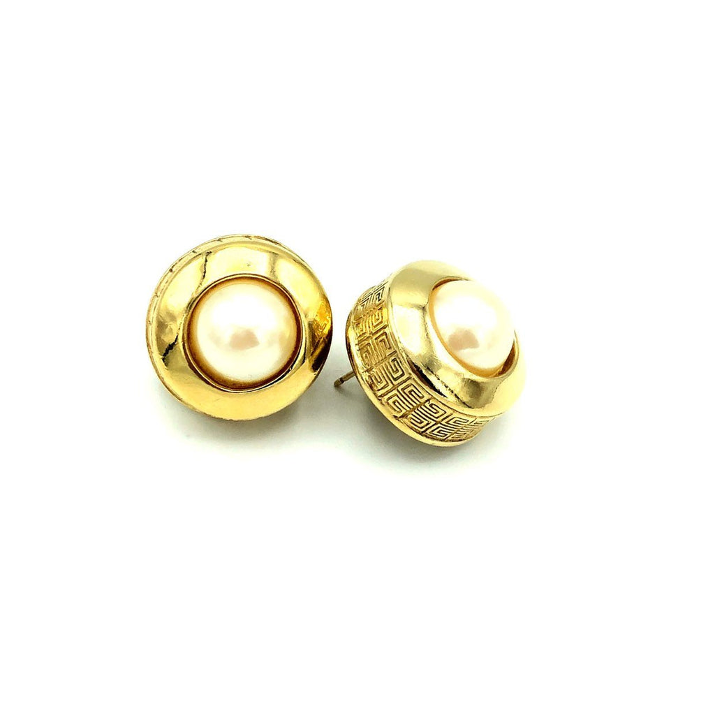 Givenchy Gold Round Pearl Logo Vintage Earrings