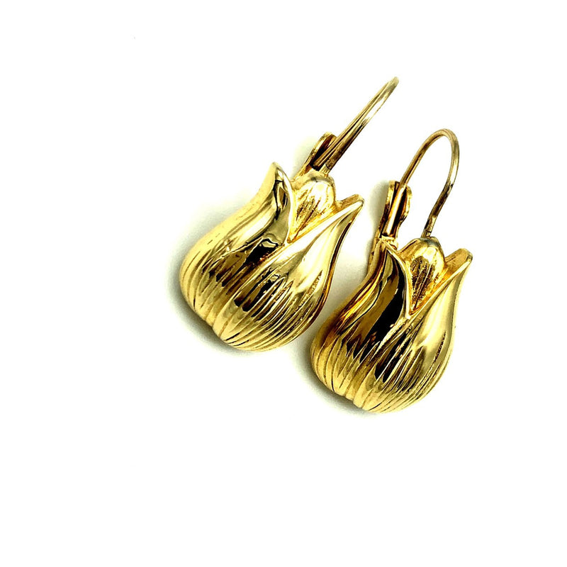 Givenchy Gold Tulip Vintage Dangle Drop Earrings