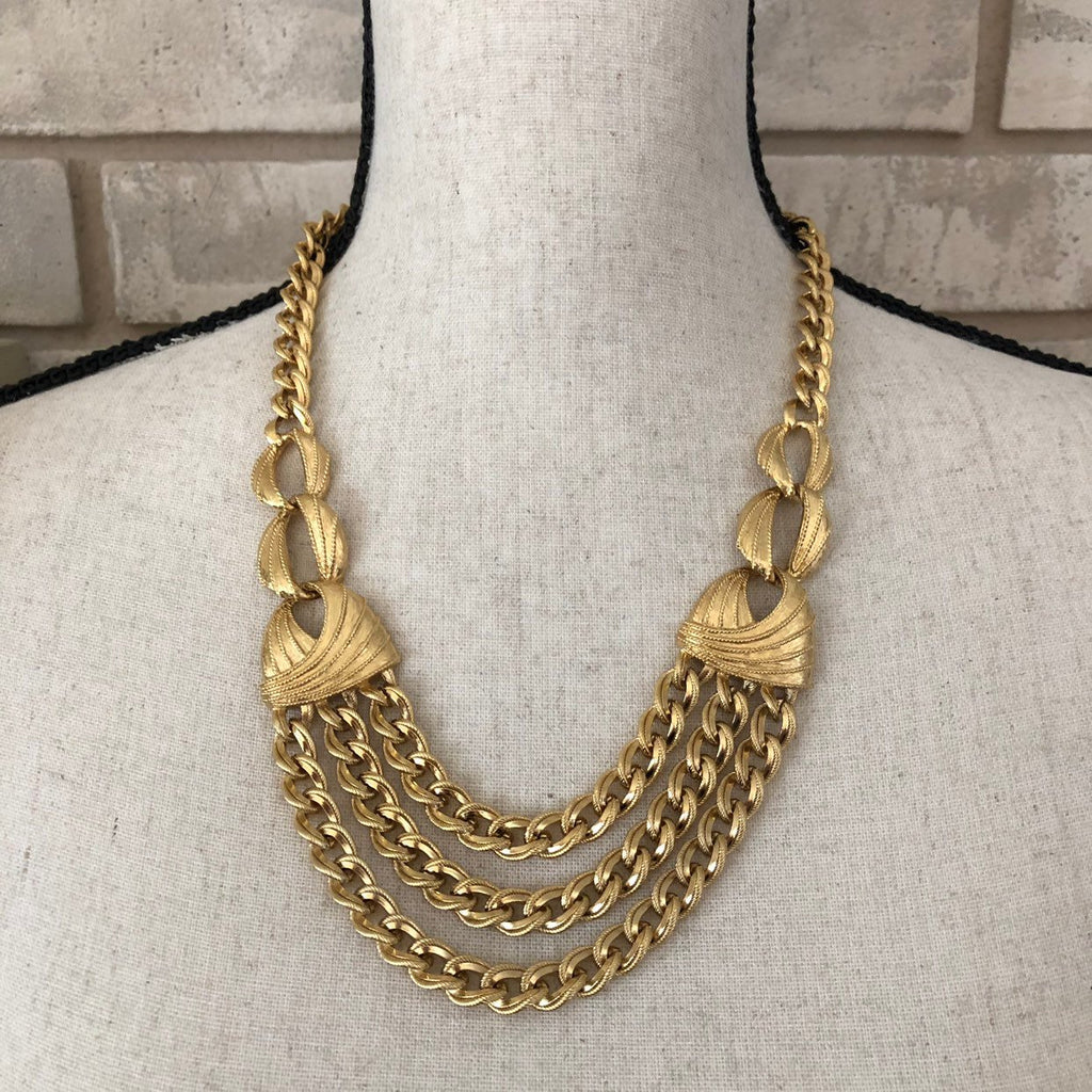 update alt-text with template Vintage Napier Gold Chain Classic Layered Bib Necklace-Necklaces & Pendants-24 Wishes-[trending designer jewelry]-[napier jewelry]-[Sustainable Fashion]