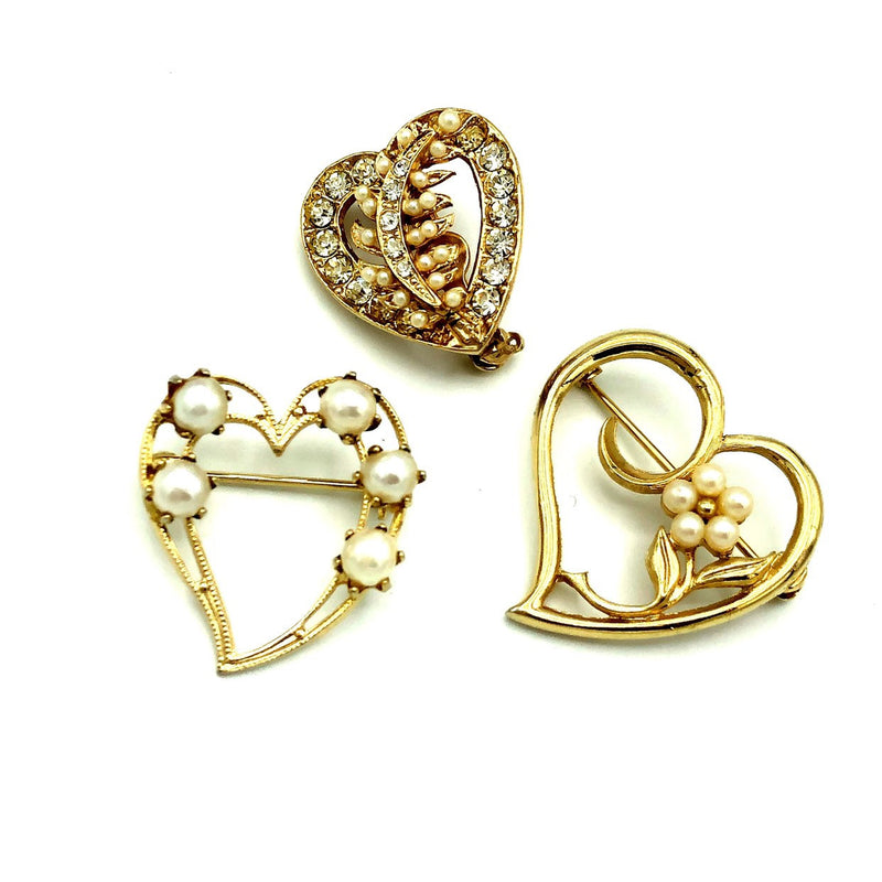 Gold Brooch Trio Vintage Hearts Brooch Scatter Pins-Sustainable Fashion with Vintage Style-Trending Designer Fashion-24 Wishes