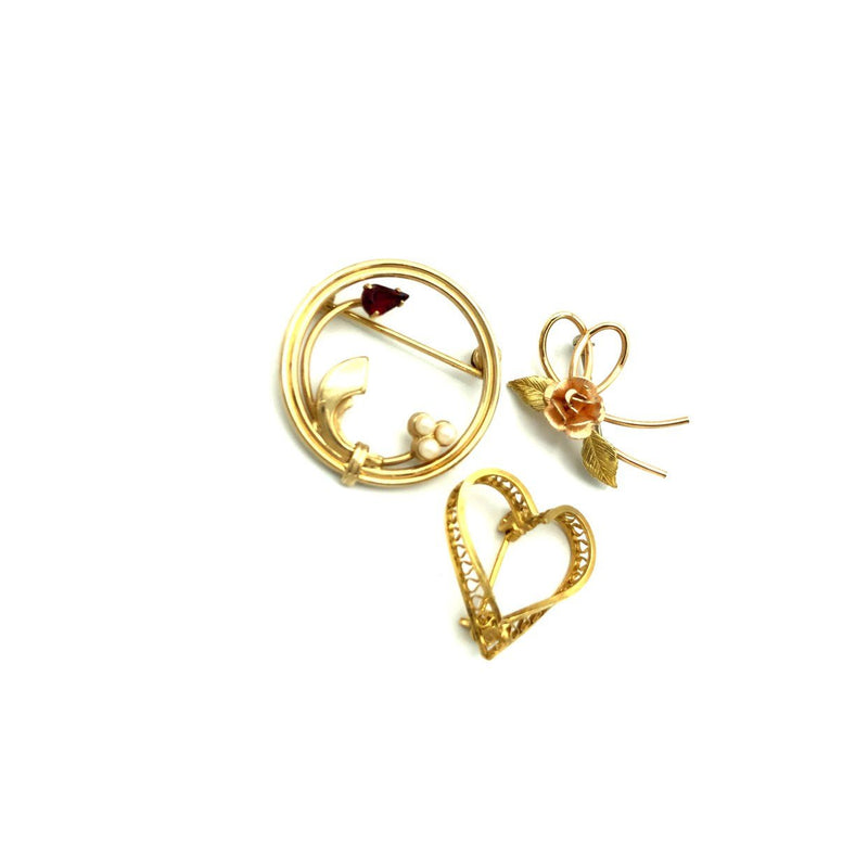 Gold Pearl Vintage Heart Brooch Scatter Pin Trio