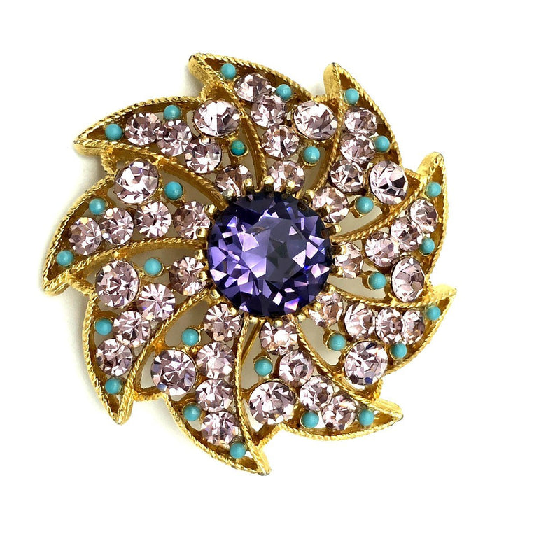 BSK Pinwheel Amethyst Purple Vintage Brooch-Sustainable Fashion with Vintage Style-Trending Designer Fashion-24 Wishes