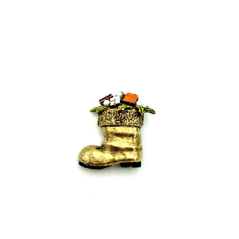 Vintage Santa Boot with Gifts Gold Enamel Signed ART-Sustainable Fashion with Vintage Style-Trending Designer Fashion-24 Wishes