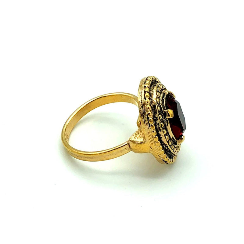 Vintage Sarah Coventry Ruby Red Victorian Inspired Cocktail Ring