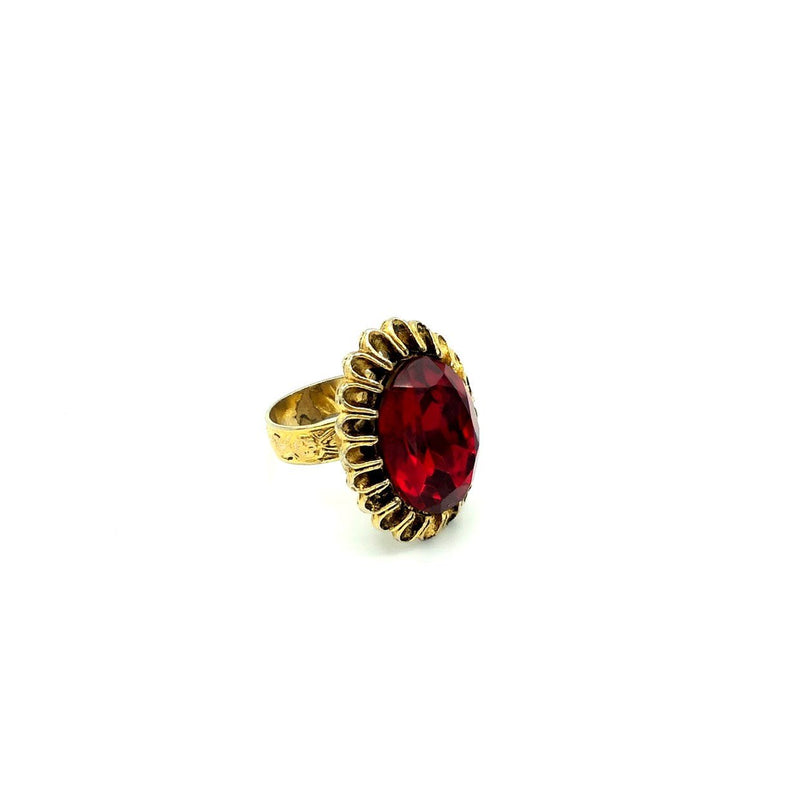 Gold Vintage Ruby Red Cocktail Ring
