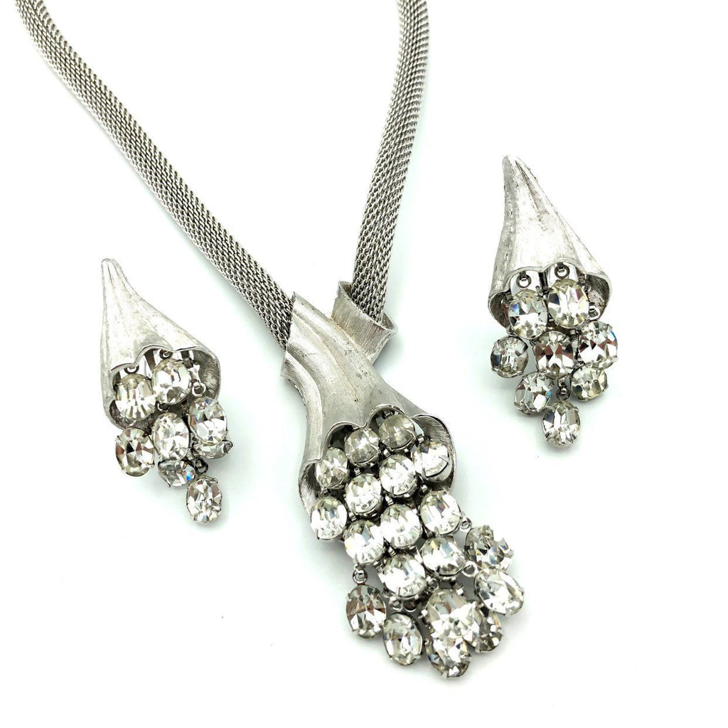 Vintage Silver Mesh Rhinestone Waterfall Jewelry Set