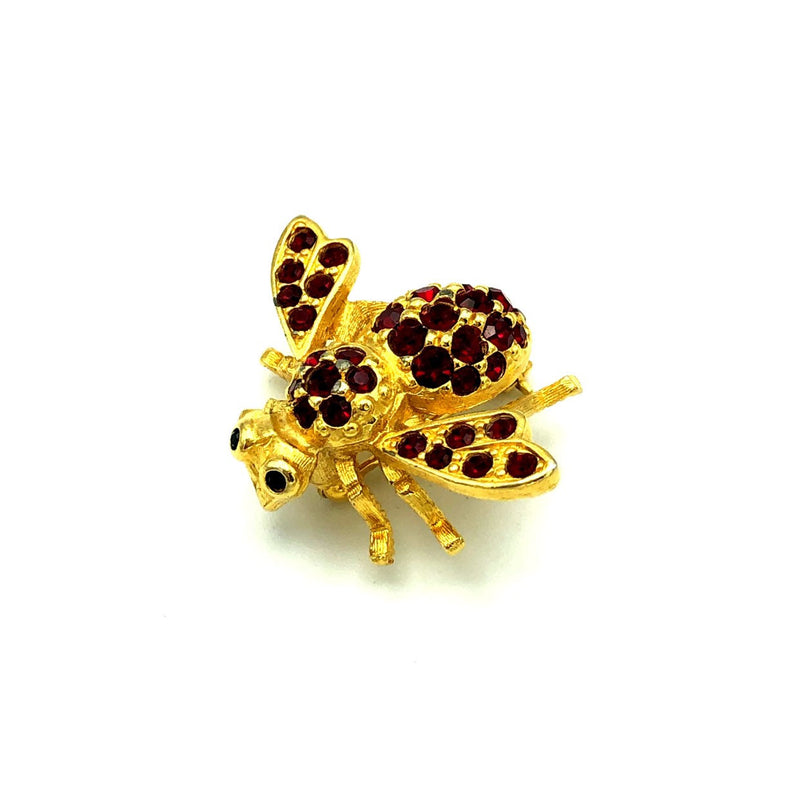 update alt-text with template Gold Joan Rivers Petite Bee Red Crystal Brooch-Brooches & Pins-Joan Rivers-[trending designer jewelry]-[joan rivers jewelry]-[Sustainable Fashion]