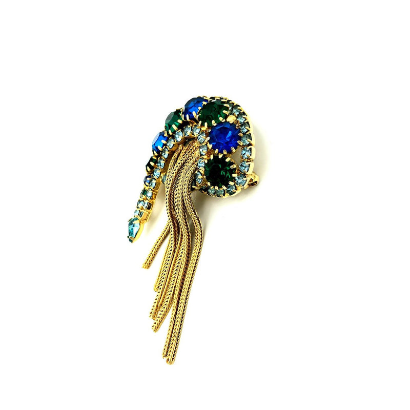 Paisley Blue Green Rhinestones Vintage Brooch Pin-Sustainable Fashion with Vintage Style-Trending Designer Fashion-24 Wishes
