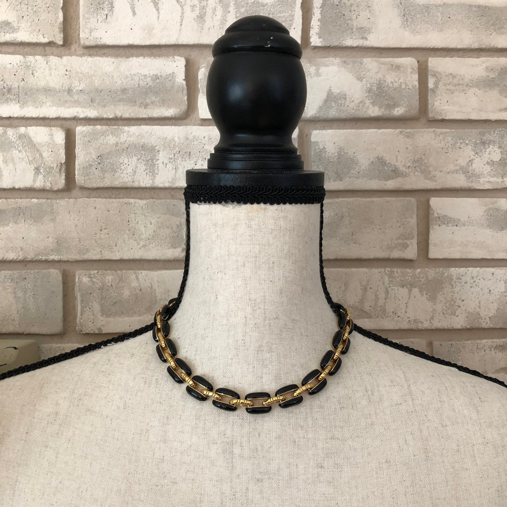 Vintage St. John Black Enamel Gold Chain Link Necklace-Sustainable Fashion with Vintage Style-Trending Designer Fashion-24 Wishes