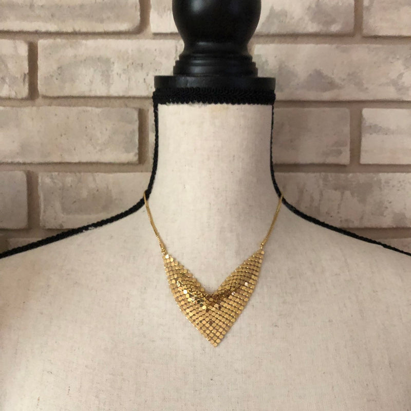 Givenchy Gold Triangle Mesh Bib Vintage Pendant-Necklaces & Pendants-Givenchy-[trending designer jewelry]-[givenchy jewelry]-[Sustainable Fashion]