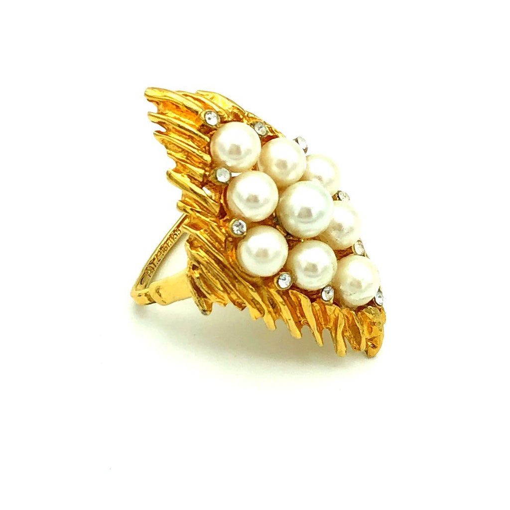 Large Gold Rhinestone & Pearl Vintage Cocktail Ring