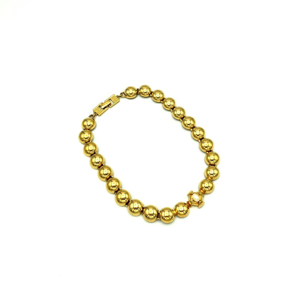 Classic Gold Givenchy Circle Pearl Necklace Pendant