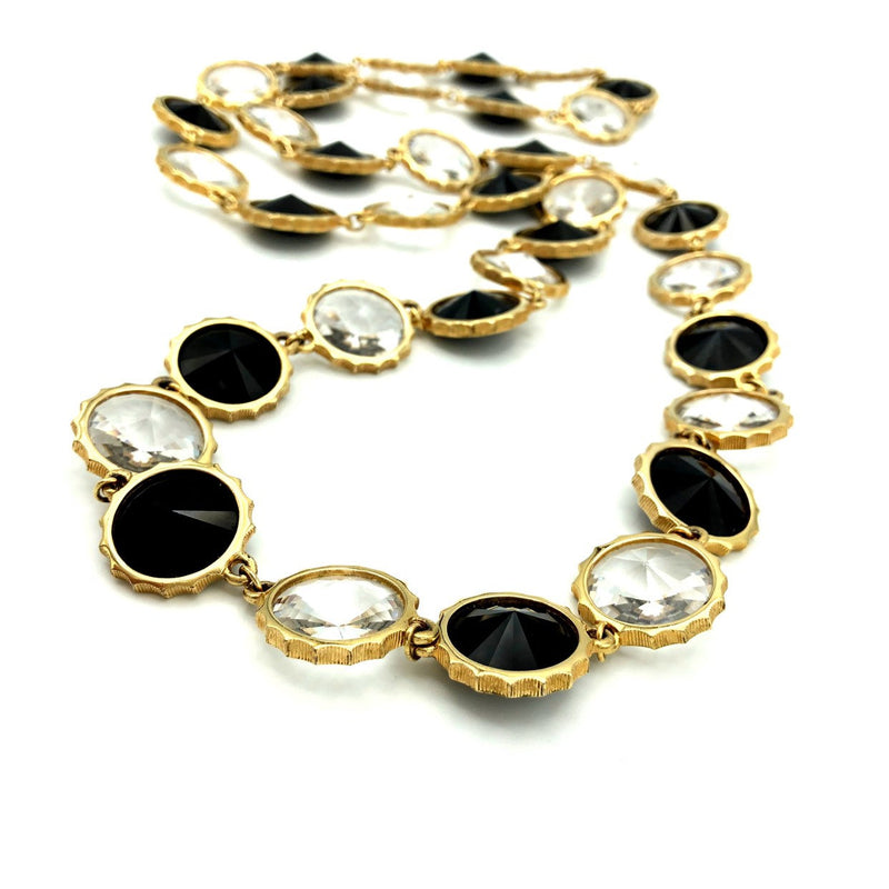Vintage Black & White Chaton Faceted Rivoli Long Necklace-Sustainable Fashion with Vintage Style-Trending Designer Fashion-24 Wishes