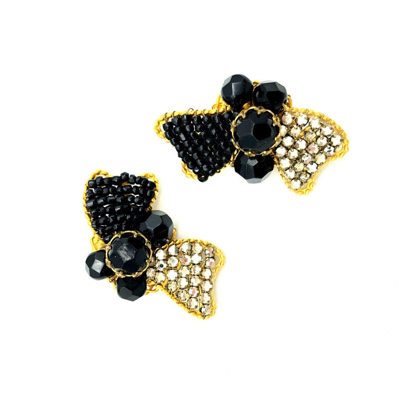Demario NY Black Bead Rhinestone Bow Vintage Earrings-Sustainable Fashion with Vintage Style-Trending Designer Fashion-24 Wishes