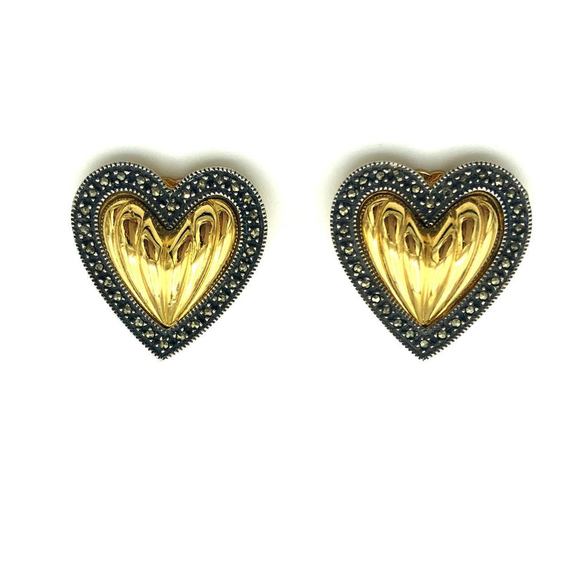 Gold Judith Jack Puffy Heart Sterling Vintage Earrings