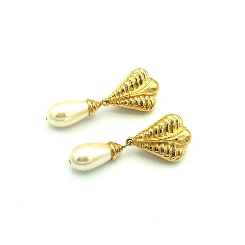 Vintage Gold St. John Tear Dangle Pearl Earrings-Sustainable Fashion with Vintage Style-Trending Designer Fashion-24 Wishes