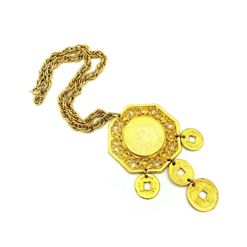 Vintage Gold Les Bernard Large Chinese Coin Pendant-Sustainable Fashion with Vintage Style-Trending Designer Fashion-24 Wishes