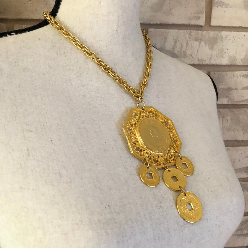 Vintage Gold Les Bernard Large Chinese Coin Pendant
