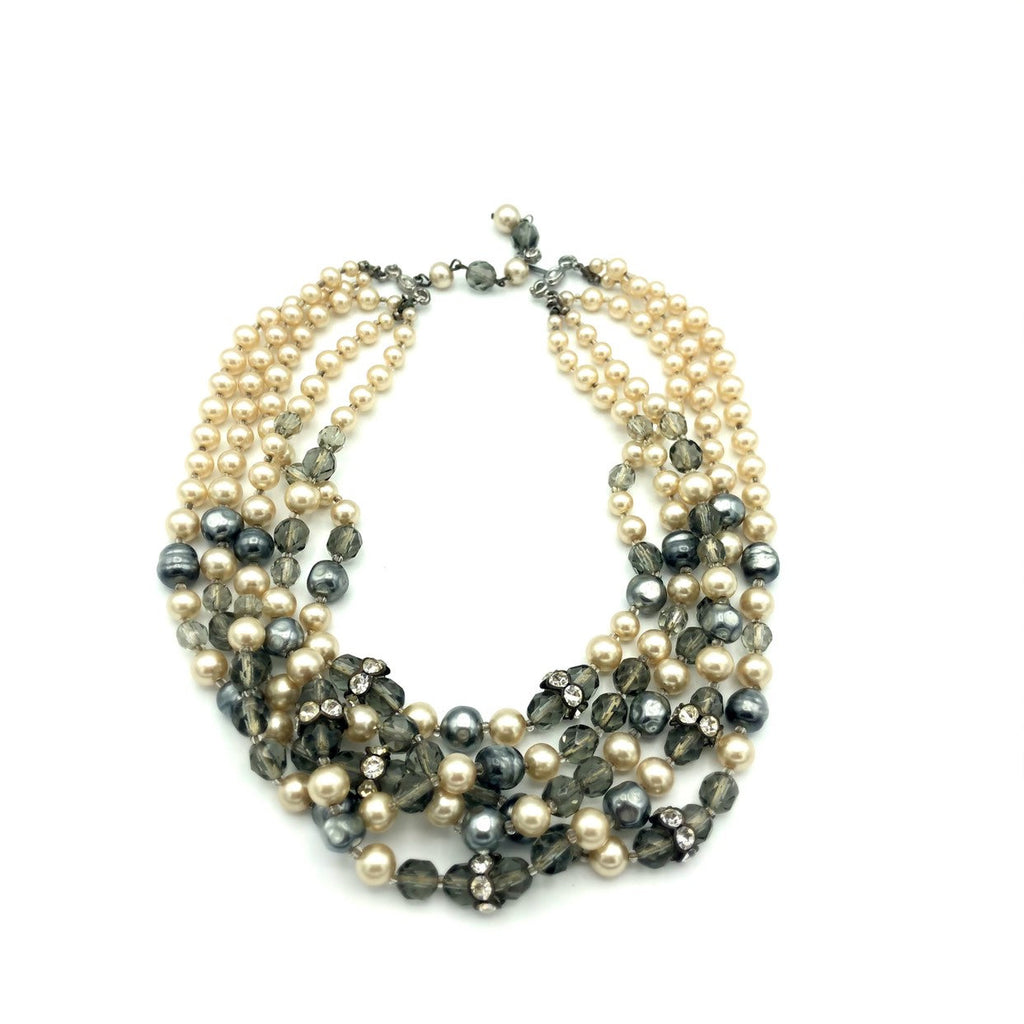 Vintage Marvella Gray Pearl Multi-Strand Torsade Necklace