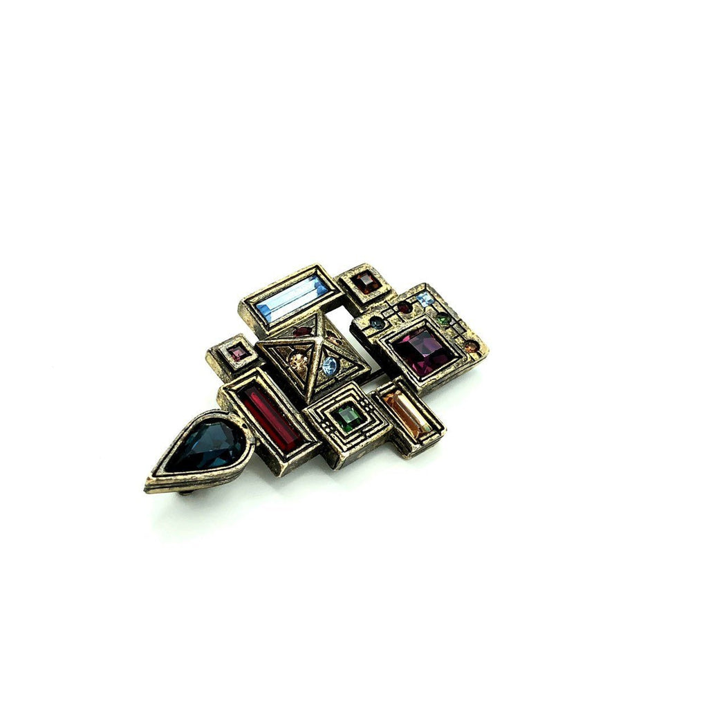 Patricia Locke Silver Abstract Geometric Modernist Brooch Pin-Brooches & Pins-24 Wishes