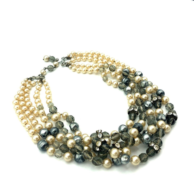Vintage Marvella Gray Pearl Multi-Strand Torsade Necklace-Sustainable Fashion with Vintage Style-Trending Designer Fashion-24 Wishes