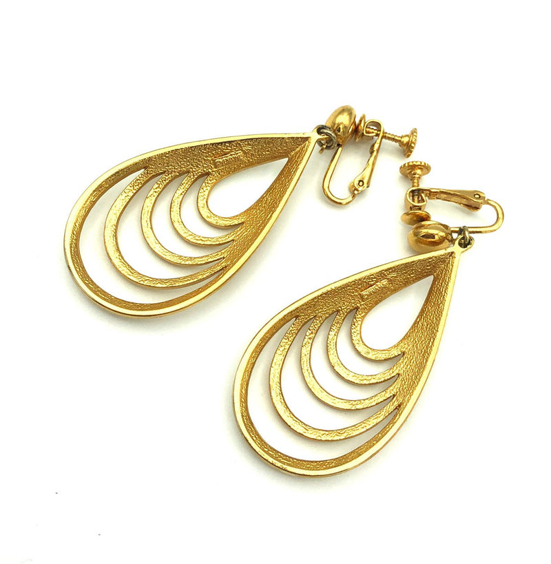 Vendome Gold Open Teardrop Dangle Vintage Clip-On Earrings-Earrings-24 Wishes