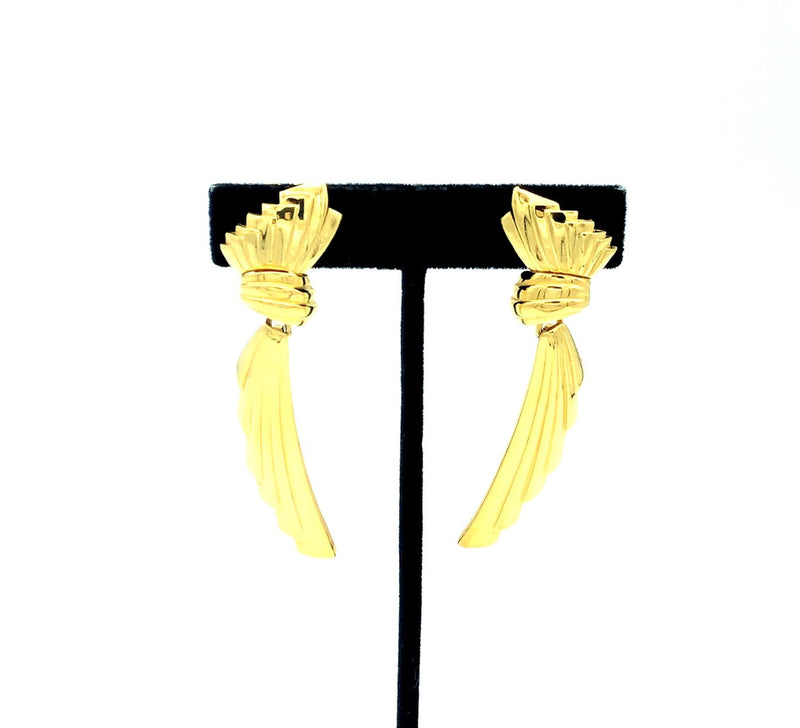 Gold Givenchy Dangle Ribbon Vintage Clip-On Earrings-Earrings-Givenchy-[trending designer jewelry]-[givenchy jewelry]-[Sustainable Fashion]