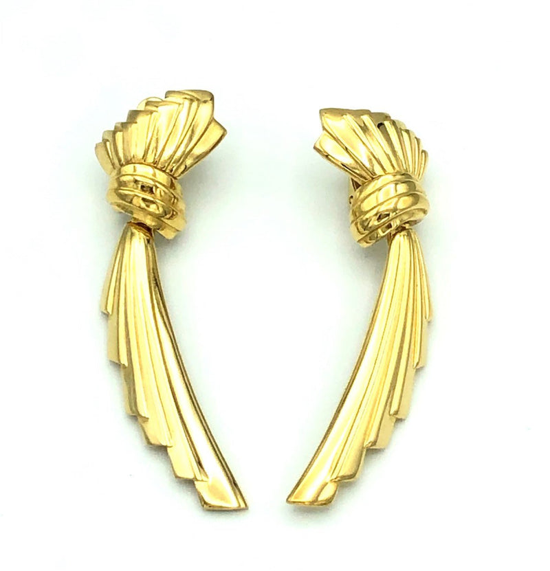 Gold Givenchy Dangle Ribbon Vintage Earrings