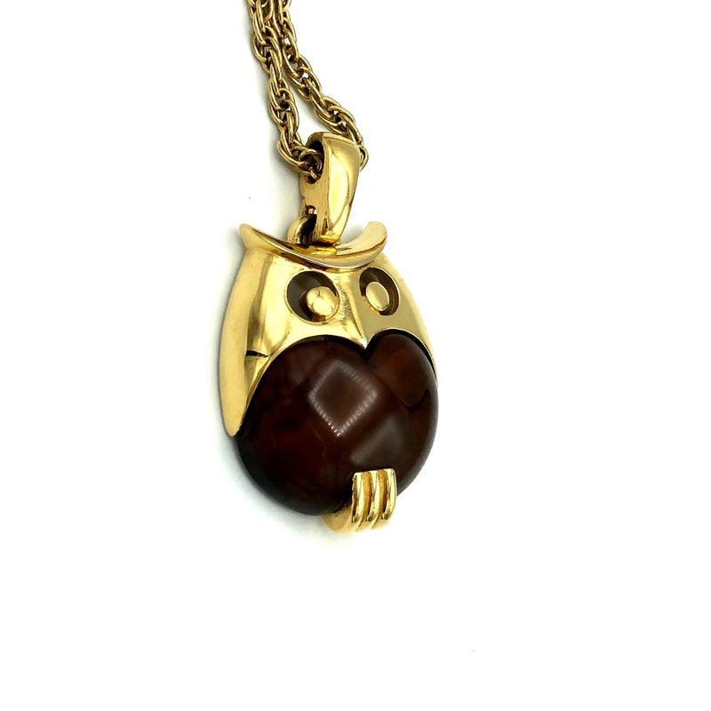 Vintage Crown Trifari Brown Lucite Owl Pendant