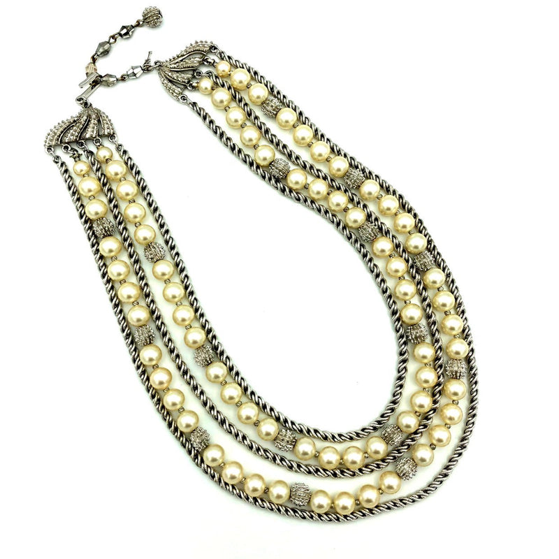 Vintage Silver Trifari Multi-Strand Layered Pearls Classic Necklace