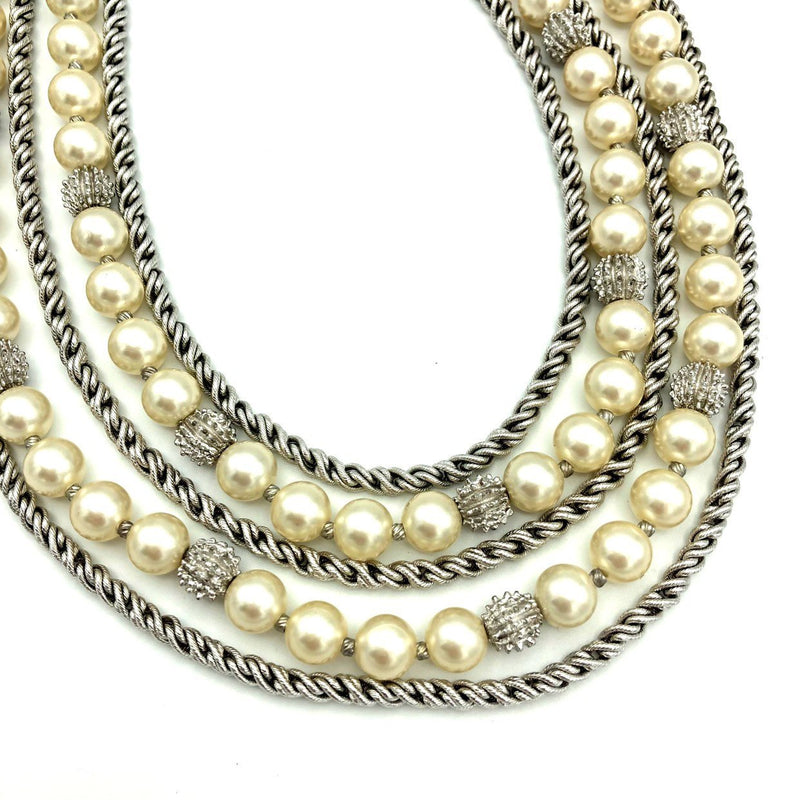 update alt-text with template Vintage Silver Trifari Multi-Strand Layered Pearl Classic Necklace-Necklaces & Pendants-Trifari-[trending designer jewelry]-[trifari jewelry]-[Sustainable Fashion]