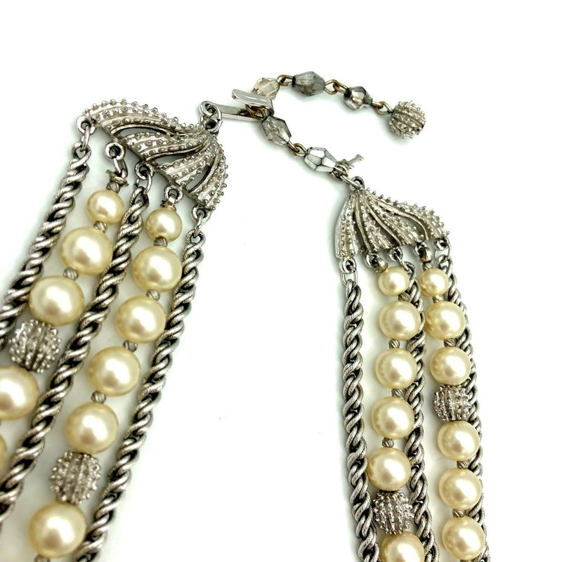 Vintage Silver Trifari Multi-Strand Layered Pearl Classic Necklace-Sustainable Fashion with Vintage Style-Trending Designer Fashion-24 Wishes