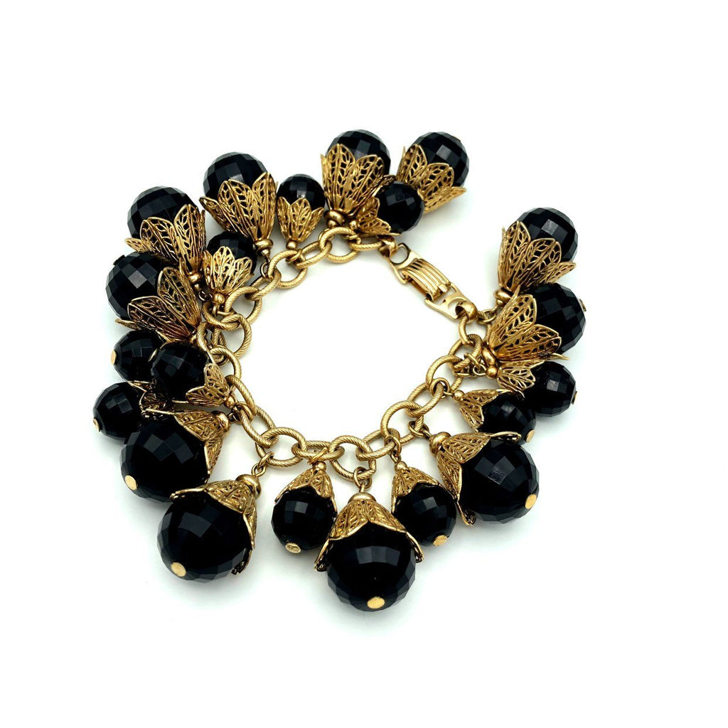 Napier Black Bead Cha Cha Dangle Vintage Jewelry Set