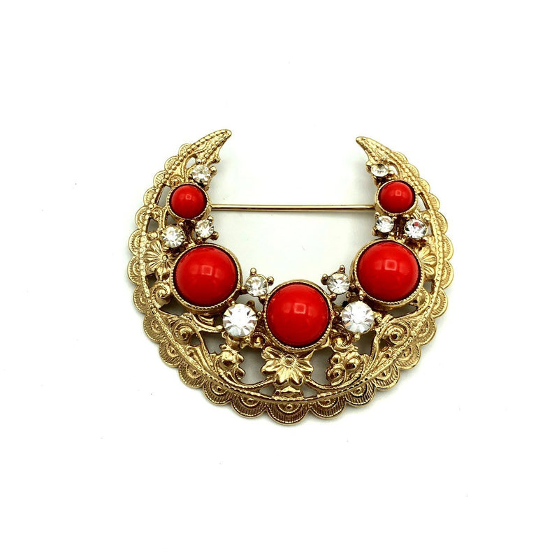 Vintage Gold Bergere Victorian Revival Coral Orange Crescent Jewelry Set-Sustainable Fashion with Vintage Style-Trending Designer Fashion-24 Wishes