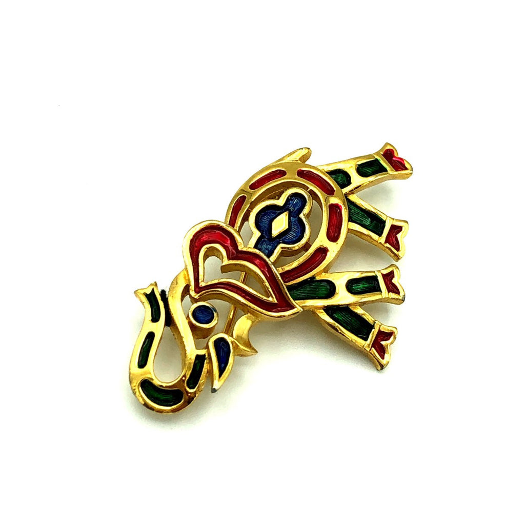 Trafari Red Green Blue Enamel Elephant Vintage Brooch Pin-Sustainable Fashion with Vintage Style-Trending Designer Fashion-24 Wishes