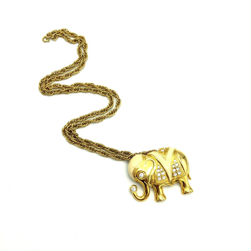 Vintage Gold Kenneth Jay Lane Elephant Brooch Convertible Pendant