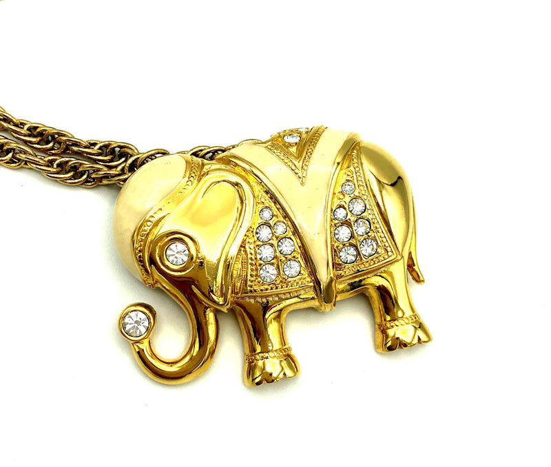 update alt-text with template Vintage Gold Kenneth Jay Lane Elephant Brooch Convertible Pendant-Necklaces & Pendants-Kenneth Jay Lane-[trending designer jewelry]-[kenneth jay lane KJL jewelry]-[Sustainable Fashion]
