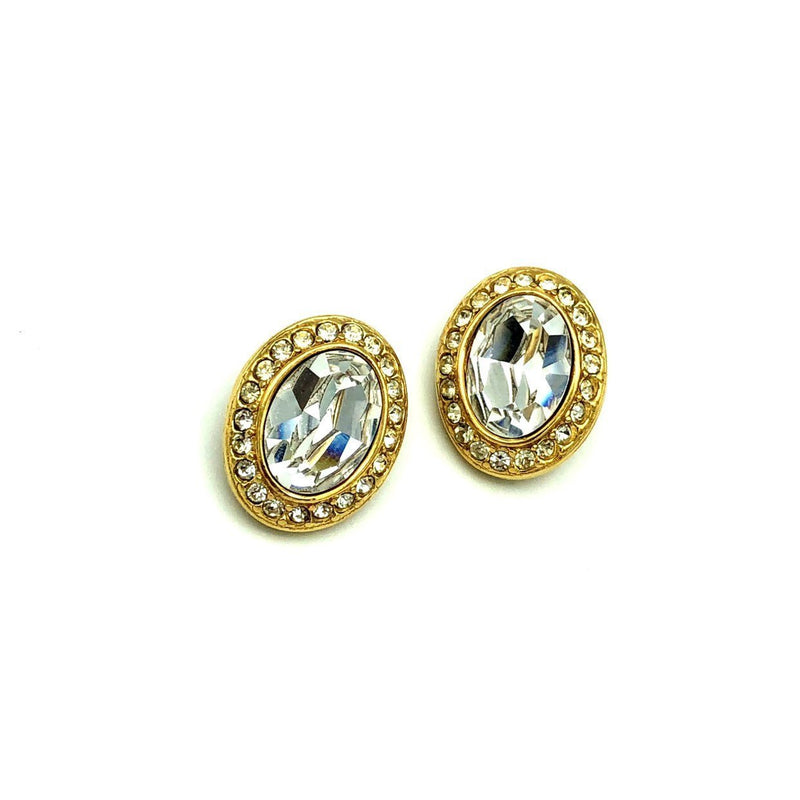 Givenchy Gold Classic Oval Rhinestone Vintage Earrings